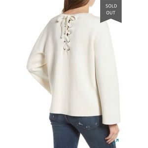 Madewell Lace Up Back Pullover Cream White Sweater 1eb0987d5
